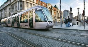The Luas Red Line on  Abbey Street. Collisions are more common on the red Luas line, which runs from west Dublin into the north inner city, than the Green line, which crosses fewer streets because it was built on the old Harcourt Street railway line.