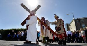 The 23rd annual stations of the cross pageant at St John the Baptist Church Clontarf Road. The Easter pagent is performerd by members of the Parish. Photograph: Alan Betson
