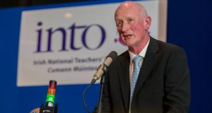 Kilkenny hurling manager Brian Cody addresses the INTO Conference in Kilkenny. Photograph: Dylan Vaughan.