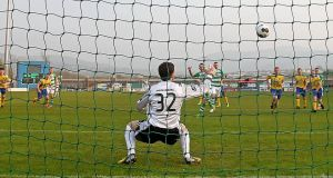 Gary McCabe converts a penalty to give Shamrock Rovers the lead against Bray Wanderers in their Airtricity League Premier Division game at Tallaght Stadium. Photograph: Donall Farmer/Inpho