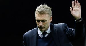 Manchester United manager David Moyes:  under scrutiny since last month following the 3-0 loss to Liverpool. Photograph: Paul Thomas/Getty Images