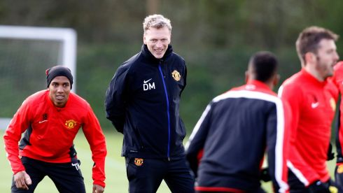 Manchester United manager David Moyes during a training session .  Today the club thanked him for his hard work, honesty and integrity. Photograph: Peter Byrne/PA Wire.