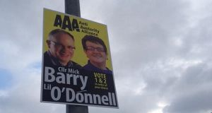 A poster on a lampost in Cork yesterday. Photograph: Dave Molloy