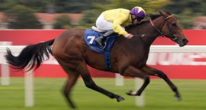 Declan McDonogh rides My Titania to win the Irish Stallion Farms European Breeders Fund Fillies Maiden at Leopardstown last September. Photo: Getty Images
