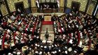 The Syrian parliament in session yesterday. The parliament's speaker, Mohammad Jihad al-Laham, has announced presidential election for June 3rd.