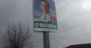 A poster for Fianna Fail candidate Frank O'Rourke is seen in Celbridge, Co Kildare, today.