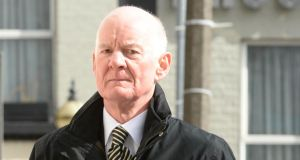 Former financial regulator Patrick Neary, arriving at the Dublin Circuit Criminal Court to give evidence during the trial of three former directors of Anglo Irish Bank. Photograph: Dara Mac Dónaill