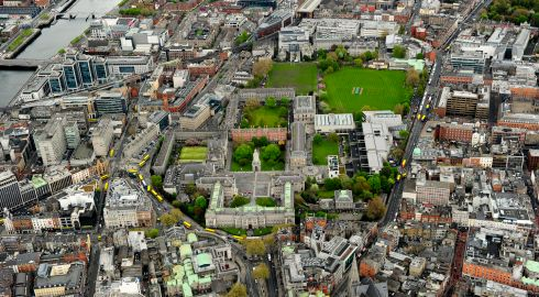 Trinity College Dublin, with the Liffey to the left. Photograph: Cpl Colum Lawlor/Air Corps