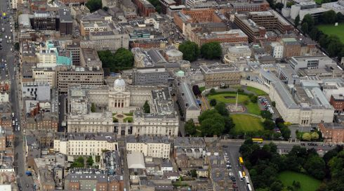 Government Buildings, with the National Gallery of Ireland and Merrion Square to the right. Photograph: Cpl Colum Lawlor/Air Corps