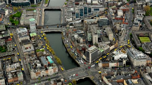 The city centre: O'Connell Bridge and Liberty Hall. Photograph: Cpl Colum Lawlor/Air Corps