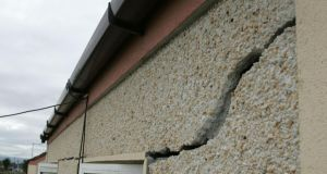 Cracks is seen in a house at Avila Close, Finglas, due to   pyrite in the cement. Photograph: Frank Miller/The Irish Times
