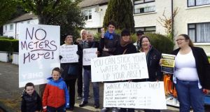 A group in Raheny, Dublin, protesting against Irish Water service charges this afternoon. Photograph: Dublin Says No campaign via Facebook