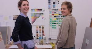 Collette Egan and Mollie Douthit in Douthit's Burren studio