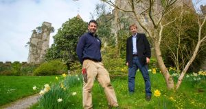 William Burlington and Darren Topps, the new head gardener at Lismore Castle who has introduced a new environmental policy to the centuries-old gardens around the castle. Photograph: Michael Mac Sweeney/Provision