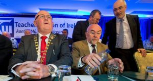 Gerard Craughwell (left), president TUI and Minister for Education, Ruairi Quinn,  pictured at the TUI conference at the Newpark Hotel in Kilkenny. Photograph: Dylan Vaughan.