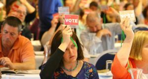 Delegates voting at the ASTI conference in Wexford. Photograph: Patrick Browne