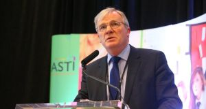 Pat King, ASTI general secretary who condemned the actions of dissenters who he said were trying to undermine the union's leadership. He was speaking at the union's annual conference at White's Hotel in Wexford. Photograph:  Patrick Browne