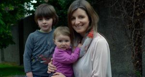 Áine O'Sullivan with her children, Matthew (4) and Evie (1), near their home in Rathmines. Photograph: Brenda Fitzsimons