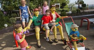 Making friends with life-size Lego people in Legoland Windsor