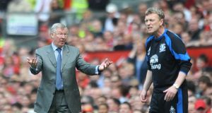 "Alex Ferguson and David Moyes: Ferguson's ""hairdryer treatment"" became the stuff of legend, whereas Moyes's interest in management theory was seen by some as a sign of weakness rather than evidence of an inquiring mind. Photograph: Anna Gowthorpe/PA"