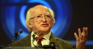 President Michael D Higgins said it was an honour to  become a Freeman of a city of writers, poets, sports stars, patriots and composers. Photograph: Cyril Byrne/The Irish Times