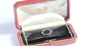 1930s Cartier cigarette box, black enamel inlaid with diamonds, €8,000- €12,000 at O'Reilly's