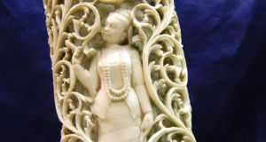 Antique carved elephant ivory tusk, €500-€1,000, at John Weldon Auctioneers