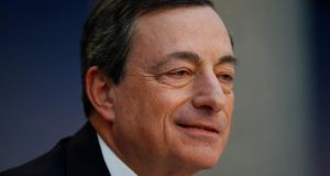 Mario Draghi, president of the European Central Bank: his comments are  his most explicit yet on what would prompt action by the central bank. Photograph: Ralph Orlowski/Bloomberg