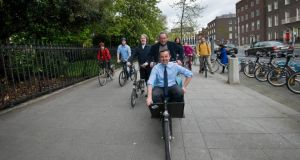 Colm Ryder secretary Dublin Cycling Campaign with Minister Brian Hayes TD. Photograph: Brenda Fitzsimons / The Irish Times