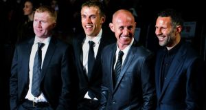 (l-r) Paul Scholes, Phil Neville, Nicky Butt and Ryan Giggs have taken the reins at Manchester United. Photograph: Chris Radburn/PA Wire.