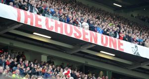 'The Chosen One' banner supporting David Moyes used to feature prominently at Old Traffordin. Photo: Martin Rickett/PA