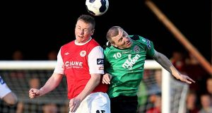 Kenny Browne (left) returns to the St Patrick's Athletic defence to face struggling Athlone Town at Inchicore tonight, while  Jason Byrne (right) should start for Bohemians against Cork City at Turner's Cross. Photograph: Donall Farmer/Inpho