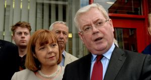 Labour candidate for Dublin Emer Costello with Labour Party leader Eamon Gilmore at the Dublin City Sheriffs Office yesterday where Ms Costello signed her election nomination papers. Photograph: David Sleator