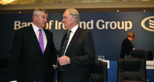 Bank of Ireland CEO Richie Boucher (left) and chairman Archie Kane. Photo: Aidan Crawley