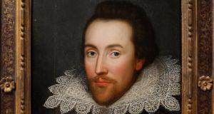 A painting believed to be the only authentic image of Shakespeare made during his life. Photograph: Oli Scarff/Getty Images