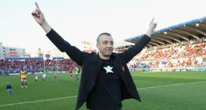 Toulon Rugby owner Mourad Boudjellal   celebrates  his team's Heineken Cup quarter-final victory over Leinster at the Felix Mayol Stadium in Toulon. Photo:  David Rogers/Getty Images)