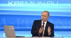 Russian president Vladimir Putin. Investors have bought the rouble on any signs of Russian concessions to end its stand-off with Ukraine and hopes of thawing tensions between Moscow and the West but there appeared few reasons to buy Russian assets this week. Photograph: Reuters/Alexei Nikolskyi/RIA Novosti/Kremlin