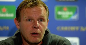 Director of Rugby Mark McCall talks to the media during the Saracens press conference at Twickenham. Photograph:  Christopher Lee/Getty Images