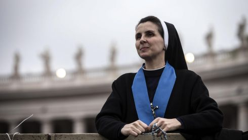A nun readies herself for the ceremoney in St Peter's Square. Photograph: Angelo Carconi/EPA