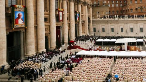 A general view of the mass ahead of the canonisation ceremony in St Peter's Square. Photograph: Stefano Rellandini/Reuters