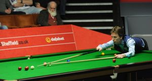 Ken Doherty in action in his second-round match against Alan McManus during the World Snooker Championships in Sheffield. Photograph: Anna Gowthorpe/PA
