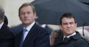 Taoiseach Enda Kenny (left) and France's prime minister Manuel Valls  attend the canonisation ceremony of Popes John XXIII and John Paul II in St. Peter's Square at the Vatican today. Mr Kenny has asked Pope Francis to visit Ireland. Photograph: Max Rossi/Reuters.