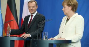 Polish prime minister Donald Tusk and German chancellor Angela Merkel  met last Friday to discuss the situation in eastern Ukraine. Photograph:  Sean Gallup/Getty Images