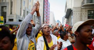 Supporters of the ruling African National Congress protest against the provincial government over the alleged lack of services and housing in Cape Town. South Africa is to hold its fourth general election since the end of apartheid on May 7th. Photograph: Nic Bothma/EPA
