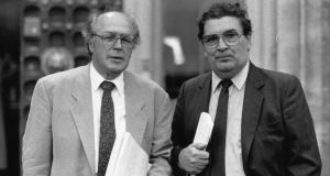 Douglas Gageby, former editor of The Irish Times, with John Hume in 1992.   Photograph: Joe St Leger