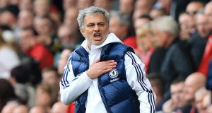 Jose Mourinho: Jose Mourinho: greeted Willian's goal with a furious dance. Photograph: PA