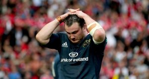 Munster's Damien Varley dejected after the province's defeat. Photograph: Inpho