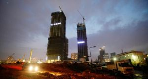 Buildings under construction in  Shenzhen: the city is one of China's fastest growing. Photograph: Alex Lee/Reuters