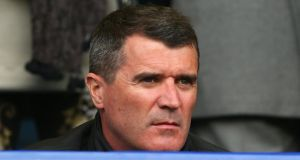 Former Manchester United legend Roy Keane at the recent game between Everton and  United at Goodison Park.