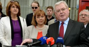 From left:  Labour Deputy Leader Joan Burton with candidate for Dublin Emer Costello, Party leader Eamon Gilmore and Director of Elections Joe Costello at the Dublin City Sheriffs Office where Ms Costello signed her election nomination papers last week. Photograph: David Sleator/The Irish Times